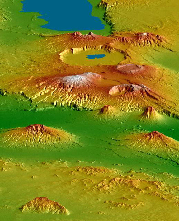 Topography of Crater Highlands along the East African Rift in Tanzania