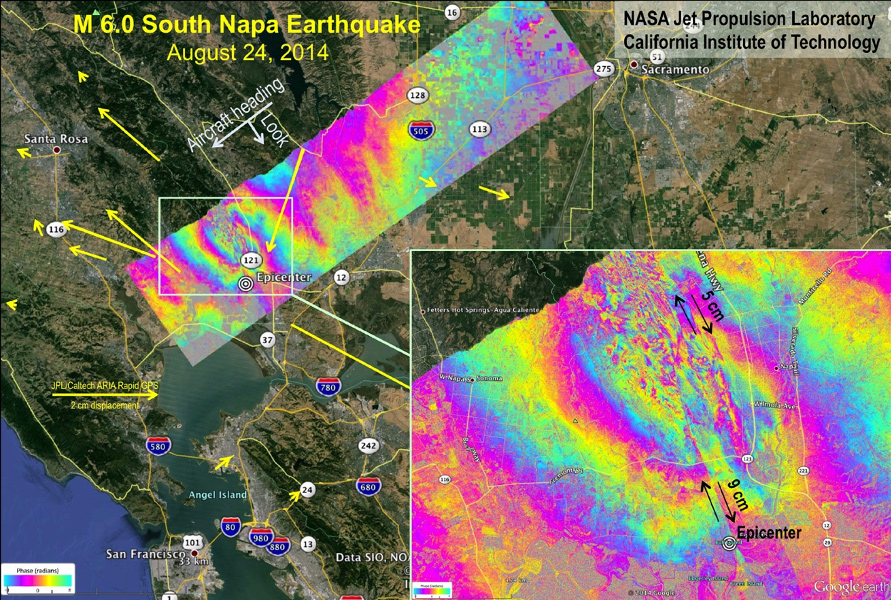 interferogram of fault movement after the 2014 Napa earthquake in Northern California